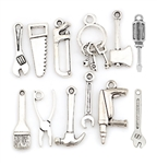 Silvertone Tool Charms - Set of 12