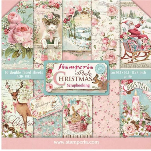 Stamperia Pink Christmas - 12x12 Paper Pad SBBL73