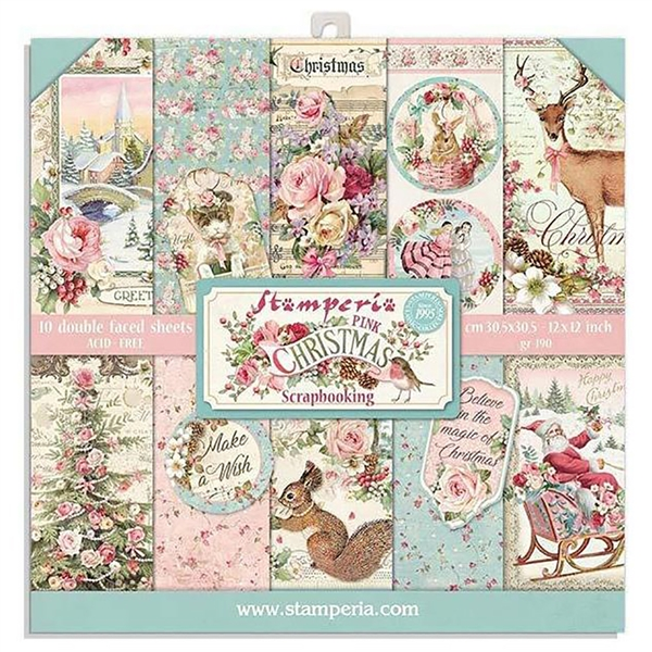 Stamperia Pink Christmas - 8x8 Paper Pad SBBS16