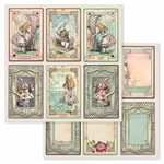 (JULY PRE-ORDER) Stamperia - Double-faced Paper Alice Cards SBB584