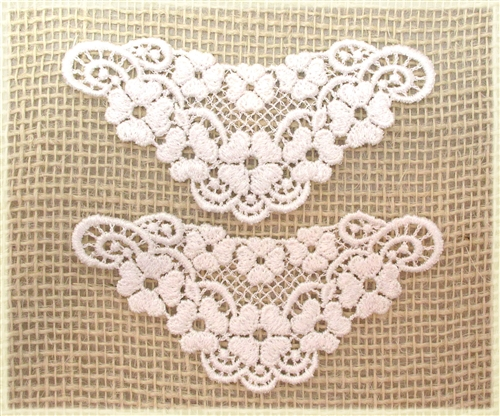 D floral lace applique lilac regency white pink color