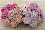 Mixed Pink Mulberry Paper Tea Roses - 40mm SAA-069