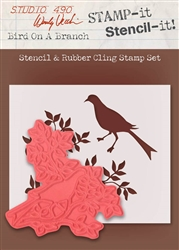 Stampers Anonymous Studio 490 Wendy Vecchi Stamp It Stencil It Bird on a Branch WVSTST023